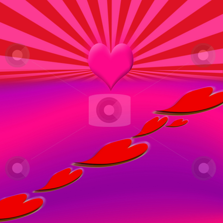 Leading Heart Road stock photo, Red hearts leading on a journey to affection by Johan Knelsen