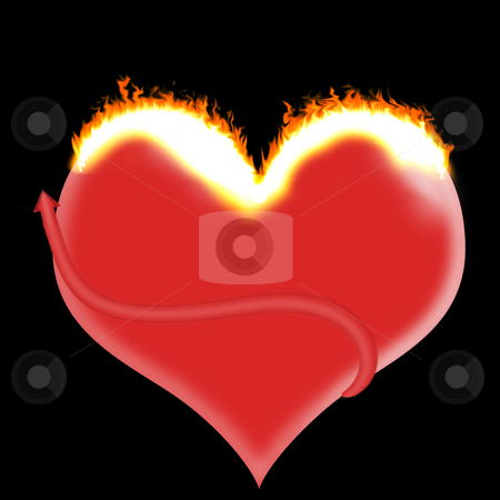 Fire Heart stock photo, Isolated red heart shape on fire with a black background by Johan Knelsen