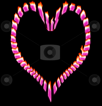 Flaming Pink Heart stock photo, Flaming pink broken heart with a black background by Johan Knelsen