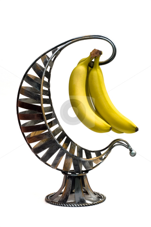 Banana stock photo, Isolated shot of a bunch of bananas against a white background by Johan Knelsen