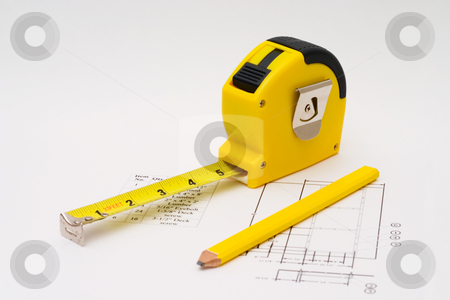 Measuring Tape stock photo, Measuring tape to illustrate any construction projects by Johan Knelsen