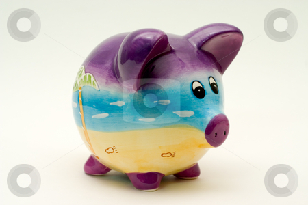 Piggy Bank stock photo, Isolated Piggy bank looking right. by Johan Knelsen