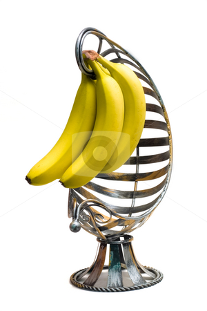 Banana Basket stock photo, Isolated bananas in a banana basket on a white background by Johan Knelsen