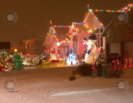 Christmas Street stock photo, Christmas scene on a street by Johan Knelsen