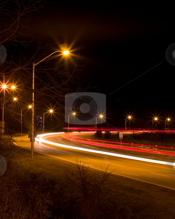 Night Freeway stock photo, Late night light streaks from traffic on the freeway by Johan Knelsen