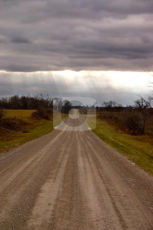 Sunrays Country Road stock photo, Sunrays in a field on a country road in canada. by Johan Knelsen