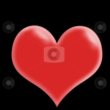 Red Heart stock photo, Isolated red heart shape on a black background by Johan Knelsen
