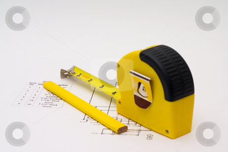 Measuring Tape stock photo, Measuring tape to help illustrate construction projects by Johan Knelsen