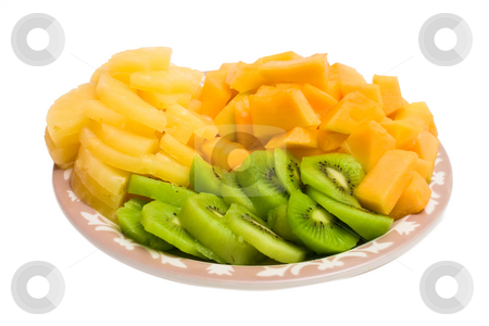 Kiwi Plate stock photo, Isolated tray of Kiwi, Pineapple and cantaloupe by Johan Knelsen