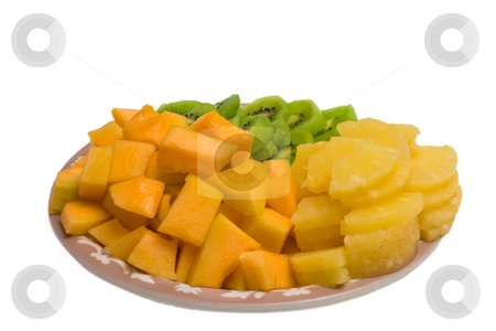 Cantaloupe and Pineapple Tray stock photo, Isolated tray of Kiwi, Pineapple and cantaloupe by Johan Knelsen