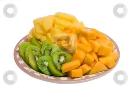 Kiwi and Cantaloupe Plate stock photo, Isolated tray of Kiwi, Pineapple and cantaloupe by Johan Knelsen