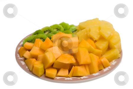 Cantaloupe Tray stock photo, Isolated tray of Kiwi, Pineapple and cantaloupe by Johan Knelsen
