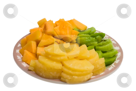 Pineapple Platter stock photo, Isolated tray of Kiwi, Pineapple and cantaloupe by Johan Knelsen