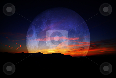 Moon stock photo, Transparent Moon at sunrise by Serge VILLA