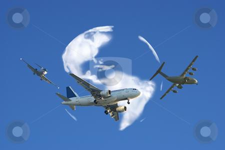 Airplane traffic stock photo, Airplane traffic around the word by Serge VILLA