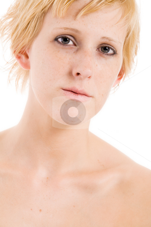 Emo portrait of a blond girl stock photo, Studio portrait of a short haired blond girl looking sad by Frenk and Danielle Kaufmann