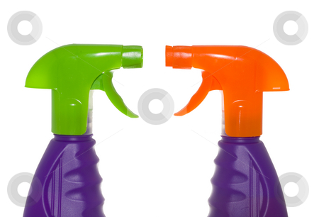 Sprayers stock photo, Two plastic sprayers isolated on the white background by Petr Koudelka