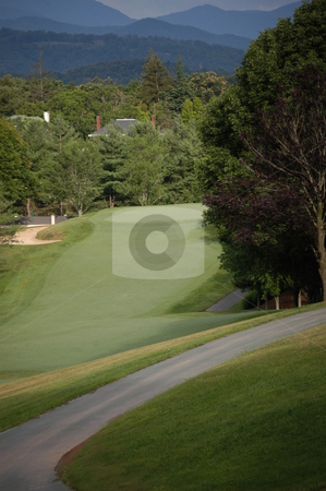 Golf green stock photo, A long golf green in the North Carolina mountains by Tim Markley