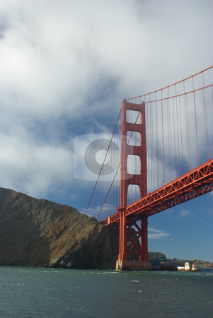 Golden Gate To California stock photo, The Golden Gate bridge viewed from the middle of the bay entrance. by Lynn Bendickson