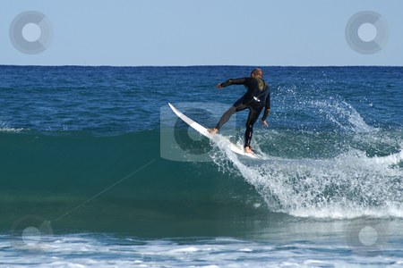 Surf the wave stock photo, Surfing the wave in mediterranean sea. by Serge VILLA