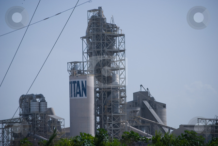 Cement Plant stock photo, Cement Processing plant with silos and structure by Robert Cabrera