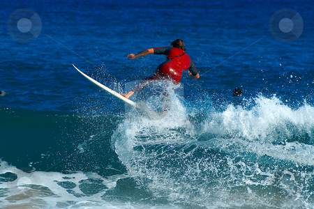 Surfing the wave stock photo, Surfing at St Maxime Beach, French riviera in automn, unidentified rider. by Serge VILLA