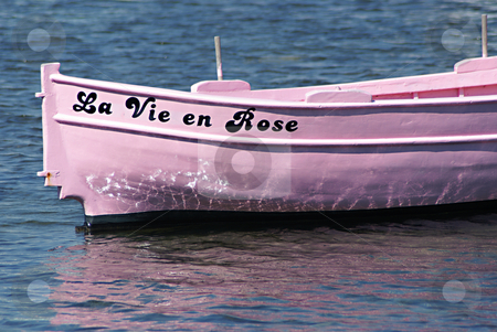 La vie en rose stock photo, Old mediterranean fisher boat having the name of afamous french song... by Serge VILLA