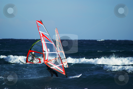 Windy day stock photo, Windsurfer during the winter at Palm Beach - Cannes - French Riviera by Serge VILLA
