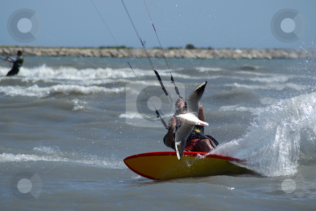 The seagull and the kite boarder stock photo, Kite surfer backside at full speed by Serge VILLA