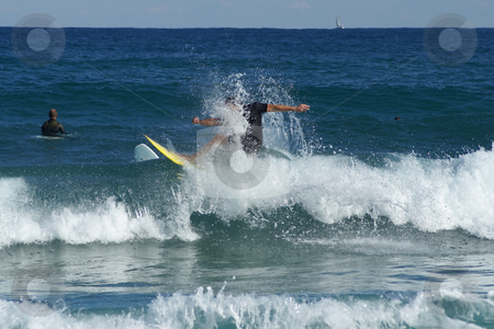 Shower stock photo, Surfing at St Maxime Beach, French riviera in automn, unidentified rider. by Serge VILLA