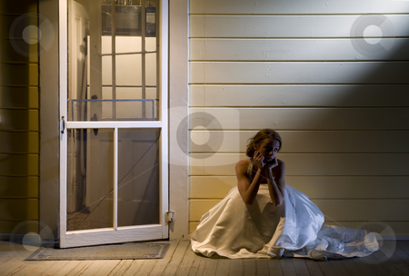 Bride on Back Porch stock photo, Young Bride Sitting Alone on Back Porch by Scott Griessel
