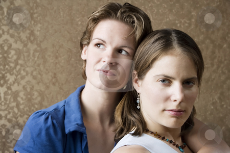 Two Women bonding stock photo, Portrait of Two Pretty Young Women Friends by Scott Griessel