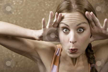 Woman Making a Funny face stock photo, Woman with a Suspicious Look by Scott Griessel