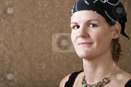 Pretty Woman Wearing a Bandana stock photo, Pretty Woman Wearing a Bandana on Her Head by Scott Griessel