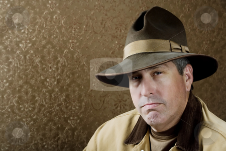 Outdoorsman stock photo, Portrait of Outdoorsman with jacket and a Big Hat by Scott Griessel