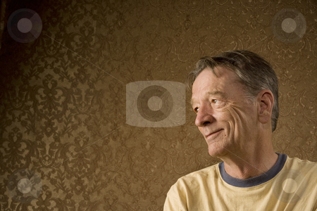 Senior Man Looks Left stock photo, Senior Man Against a Gold Background Looking Left by Scott Griessel