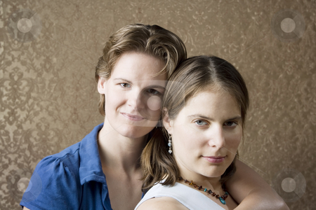 Two Women in love stock photo, Portrait of Two Pretty Young Women Friends by Scott Griessel