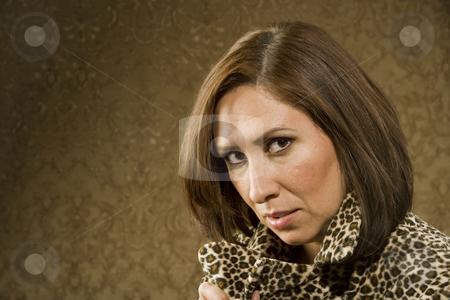 Pretty Hispanic Woman In Leopard Print stock photo, Pretty Hispanic Woman in Leopard Print Coat by Scott Griessel
