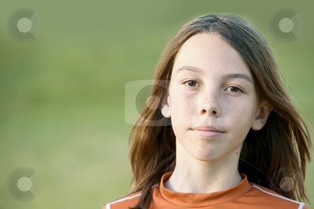 Boy with Long Hair stock photo, Young Teen Boy with Freckles and Long Hair by Scott Griessel