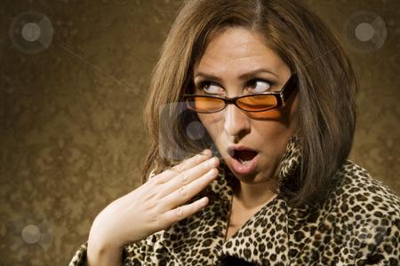 Shocked Hispanic Woman stock photo, Portrait of a Hispanic woman wearing sunglasses expressing shock by Scott Griessel