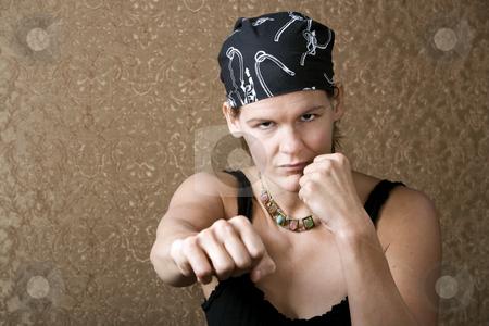 Pretty Boxing Woman Wearing a Bandana stock photo, Pretty Boxing Woman Wearing a Bandana on Her Head by Scott Griessel