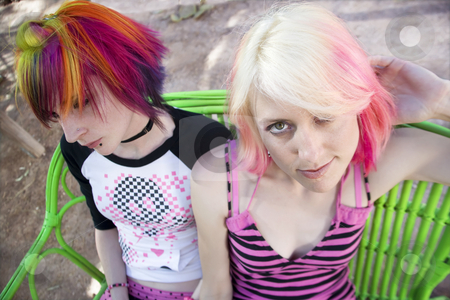 Punk Girls on a Bench stock photo, Two Pretty Punk Girls on a Green Bench by Scott Griessel