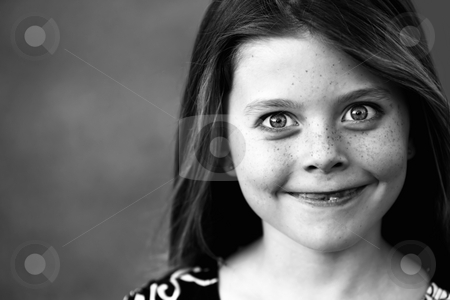 Pretty Young Girl stock photo, Pretty Young Girl with Freckles and a Big Smile by Scott Griessel