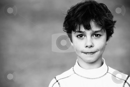 Young Boy stock photo, Portrait of a Young Teen Boy with Dark Curly hair by Scott Griessel