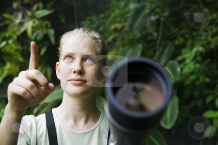 Pretty Woman with Telescope in the Rain Forest stock photo, Pretty nature guide with a telescope in the rainforest by Scott Griessel