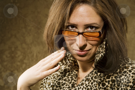 Hispanic Woman with Attitude stock photo, Portrait of a Hispanic woman wearing sunglasses with a confident attitude by Scott Griessel