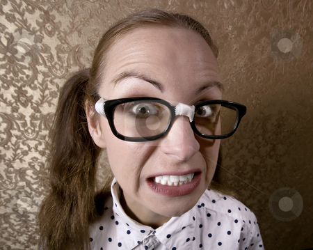 Nerdy Girl stock photo, Wide Angle Portrait of a Nervous Nerdy Girl by Scott Griessel