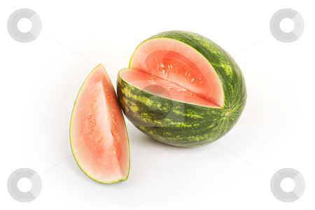 Watermelon stock photo, Bright red and green watermelon on a white background by Scott Griessel