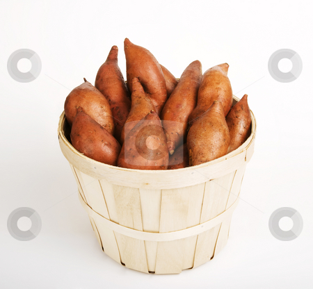 Sweet Potatoes stock photo, Red Sweet Potatoes gathered in a Woven Basket by Scott Griessel