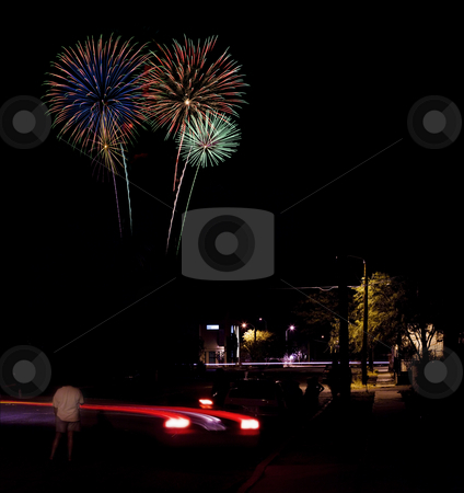 Urban Fireworks stock photo, Long exposure of fireworks over an urban street scene by Scott Griessel